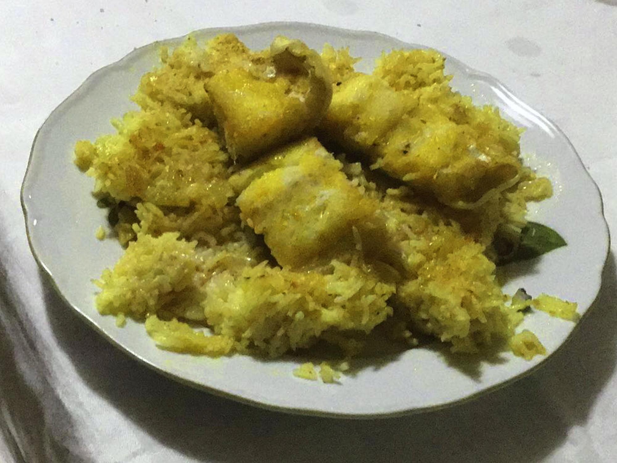 Μπακαλιάρο με ρύζι στο φούρνο